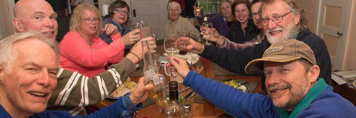 Participants toast the best photography workshop experience.