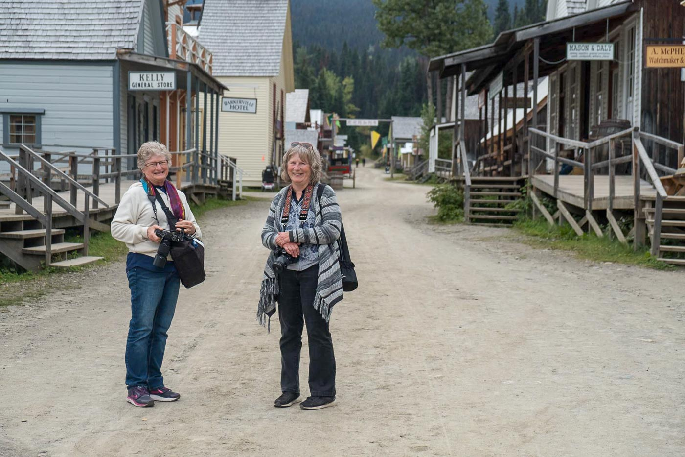two photographers ready to explore the creative possibilities in Barkerville Historic town.