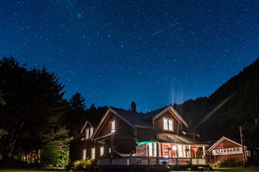 Tallheo Cannery Guest House, Bella Coola BC Canada, under the stars