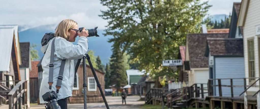 A photographer in Barkerville BC during a creative photography workshop